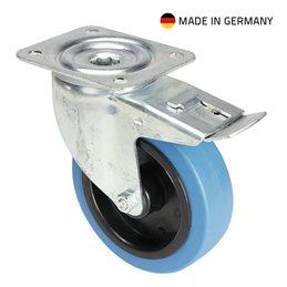 Roulette Pivotante avec Frein Bandage bleu 125 mm
