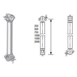 COUPLEUR ALU PERPENDICULAIRE pour tube Ø 50 mm. LG 0M75